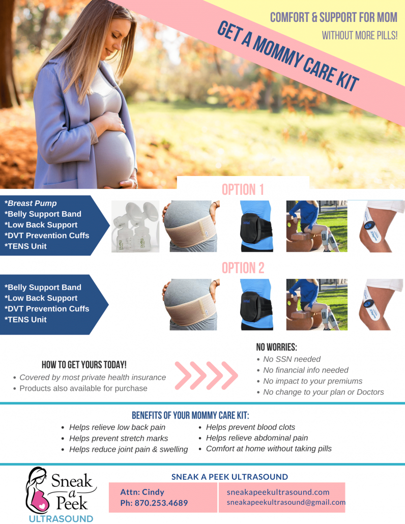 Comfort & Support for Mom Without More Pills! Get A Mommy Care Kit — Helps relieve low back pain, helps prevent stretch marks, helps reduce joint pain & swelling, helps prevent blood clots, helps relieve abdominal pain, comfort at home without taking pills.