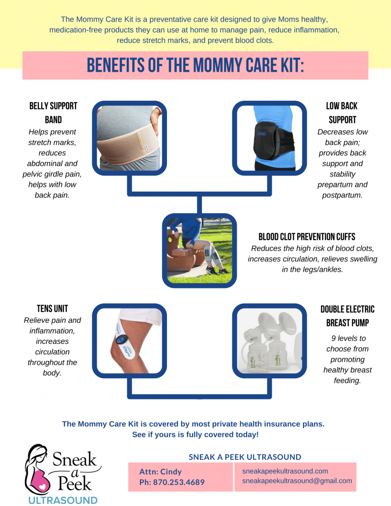 The Mommy Care Kit is a preventative care kit designed to give Moms healthy, medication-free products they can use at home to manage pain, reduce inflammation, reduce stretch marks, and prevent blood clots. The Mommy Care Kit is covered by most private health insurance plans. See if yours is fully covered today!